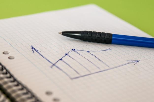 Kleurrijke handgetekende grafiek op een vel notitieboekje.