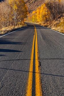 Kleurrijke herfstscène op plattelandsweg in de zonnige ochtend in het gebied van de sierra nevada