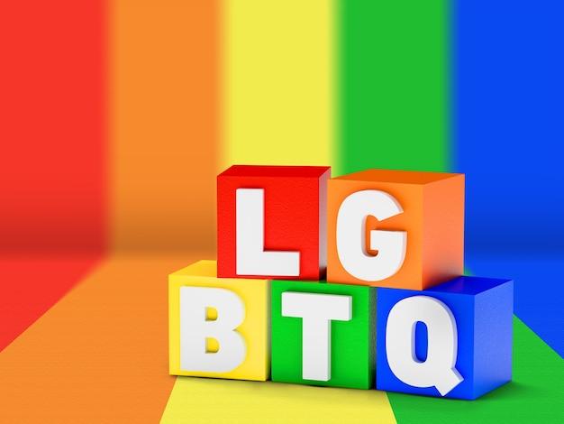 Kleurrijke houten kubussen met de kleuren van de lgbtq gay pride-vlag met het woord lgbt