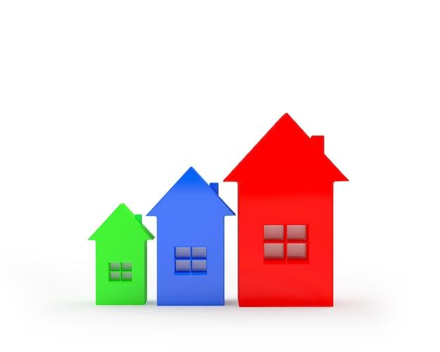 Kleurrijke huispictogrammen als grafiek