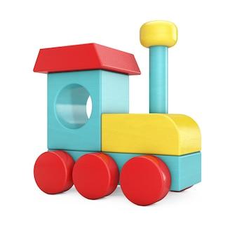 Kleurrijke kinderen houten speelgoed locomotief trein op een witte achtergrond. 3d-rendering