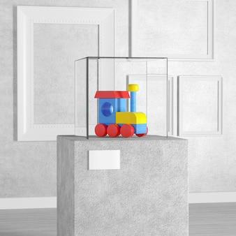 Kleurrijke kinderen houten speelgoed locomotief trein over voetstuk, podium, podium of kolom met glazen showcase kubus in kunstgalerie of museum op een witte achtergrond. 3d-rendering