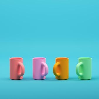 Kleurrijke koffiemokken op helderblauwe achtergrond in pastelkleuren. minimalisme concept. 3d render