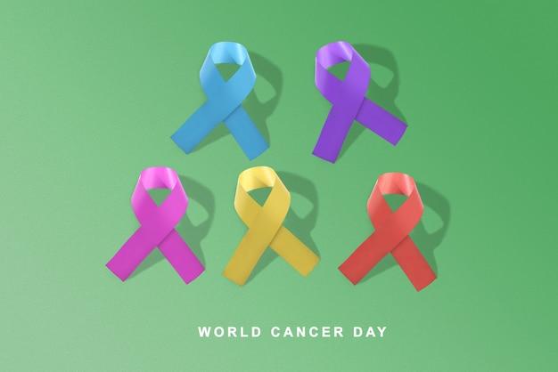 Kleurrijke linten op een gekleurde achtergrond. wereldkankerdag concept