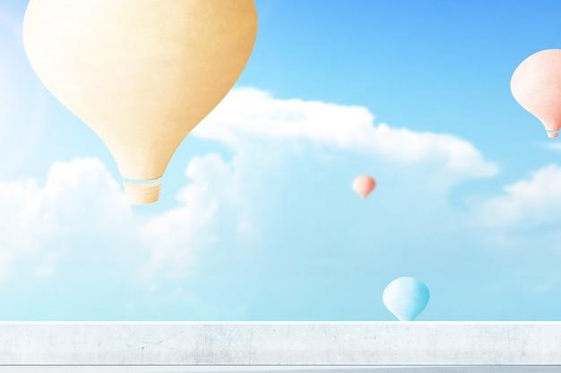 Kleurrijke luchtballon die met blauwe hemelachtergrond vliegt