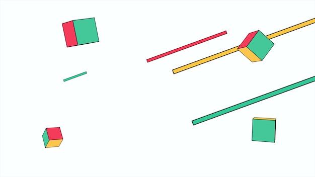 Kleurrijke memphis-achtergrond, vierkanten abstracte geometrische vormen