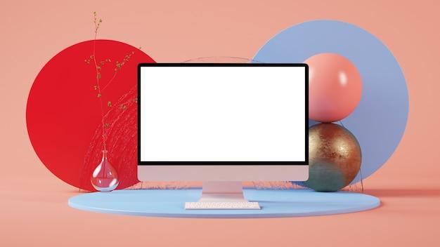 Kleurrijke minimale abstracte computer mockup 3d-rendering