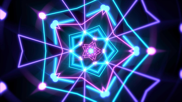 Kleurrijke neon geometrische vorm in de ruimte, abstracte achtergrond. elegante en luxe dynamische clubstijl 3d illustratie