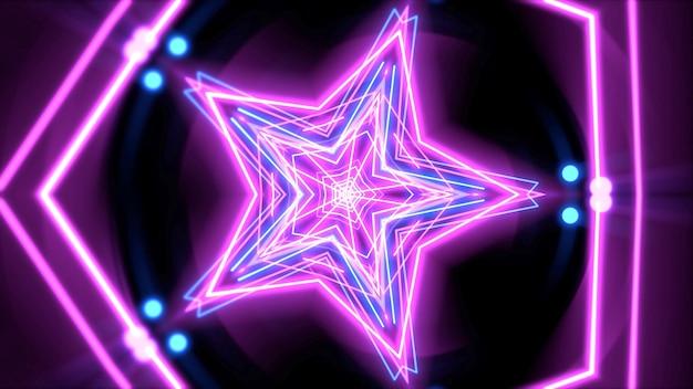 Kleurrijke neon paarse en blauwe geometrische vorm in de ruimte, abstracte achtergrond. elegante en luxe dynamische clubstijl 3d illustratie