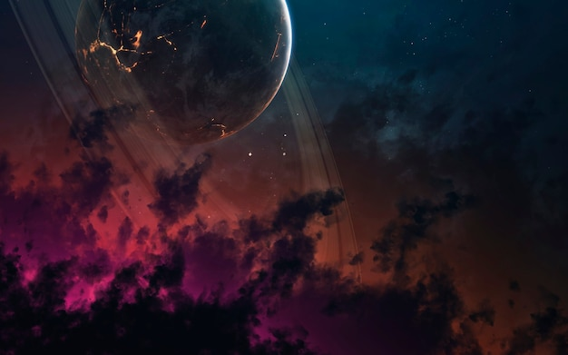Kleurrijke nevel in de diepe ruimte, prachtige melkwegstelsels, planeten en sterren. elementen van deze afbeelding geleverd door nasa