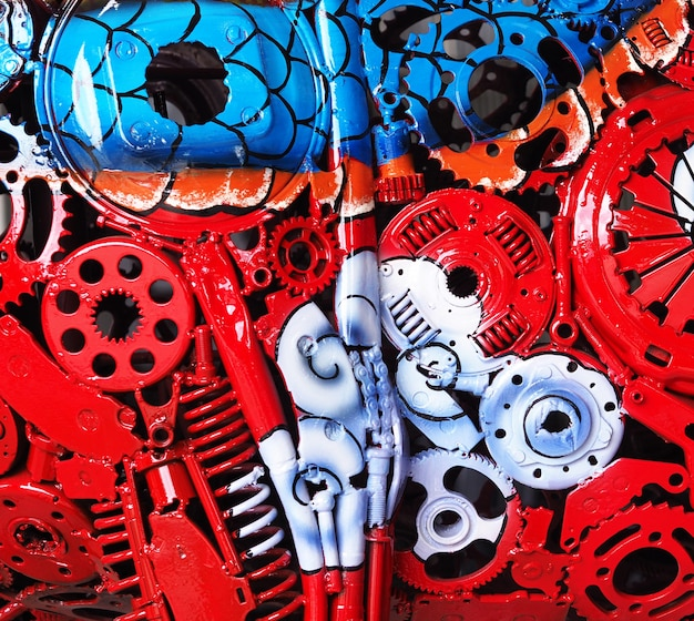 Kleurrijke olieverf op een close-up van de deelmachine.