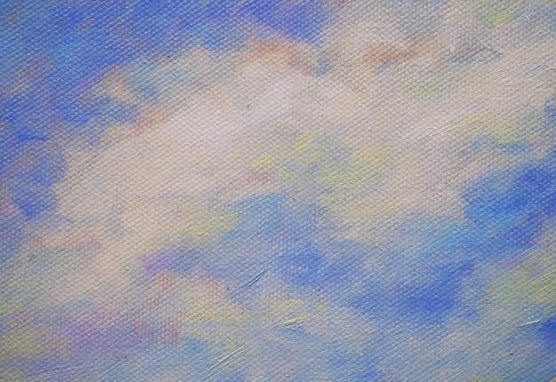 Kleurrijke olieverfschilderijhemel met wolken abstracte achtergrond en textuur.