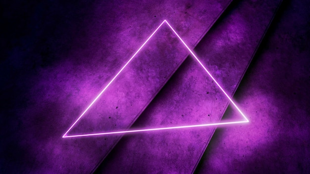Kleurrijke paarse neonlichten en driehoek patroon, abstracte achtergrond. elegante en luxe dynamische clubstijl, 3d-afbeelding
