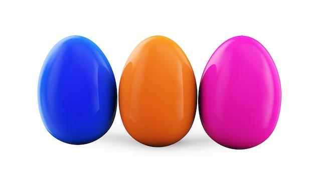 Kleurrijke paaseieren. 3d render illustratie