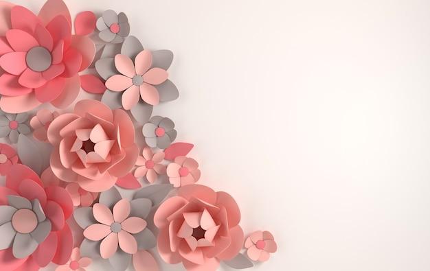 Kleurrijke papieren bloemen render