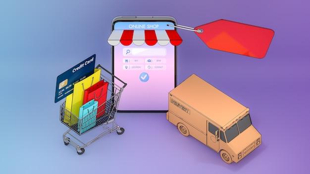 Kleurrijke papieren boodschappentassen en creditcard in een karretje met vrachtwagenbusje verschenen op het scherm van smartphones