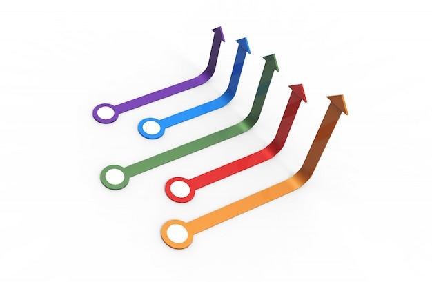 Kleurrijke pijl. groeiend bedrijfsconcept. 3d-rendering.