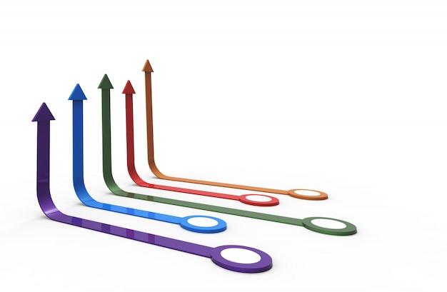 Kleurrijke pijl. groeiend bedrijfsconcept
