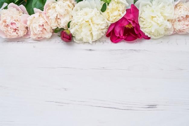 Kleurrijke pioenrozen grens op witte houten achtergrond. kopieer ruimte, bovenaanzicht. verjaardag, huwelijk, valentijnsdag, moederdagconcepten.
