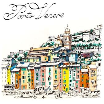 Kleurrijke pittoreske haven van porto venere, san lorenzo-kerk en doria-kasteel, la spezia, ligurië, italië. foto gemaakte markeringen