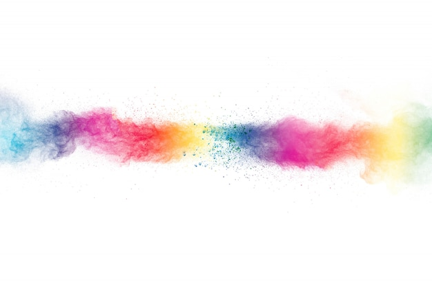 Kleurrijke poeder explosie op een witte achtergrond.