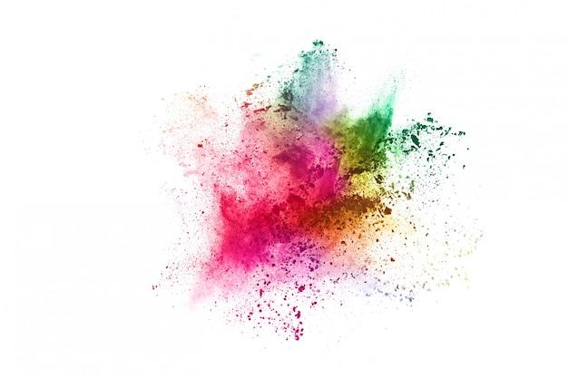 Kleurrijke poederexplosie op wit.