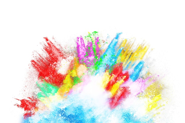 Kleurrijke poederexplosie op witte achtergrond