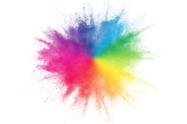 Kleurrijke poederexplosie op witte pagina