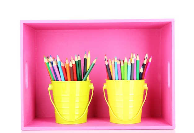 Kleurrijke potloden in emmers op plank geïsoleerd op wit