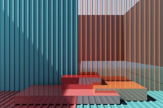 Kleurrijke producttribune met kleurrijke metaalplaatachtergrond