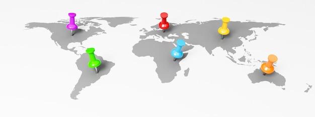 Kleurrijke pushpins op wereldkaart