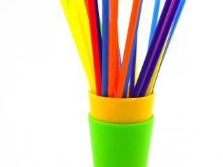 Kleurrijke rietjes, gekleurd