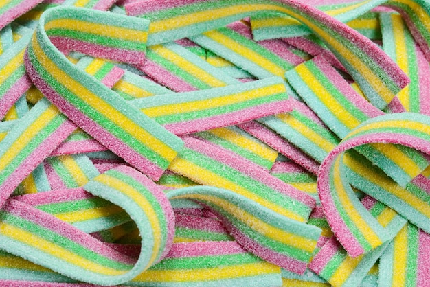 Kleurrijke sappige gummy snoepjes oppervlak