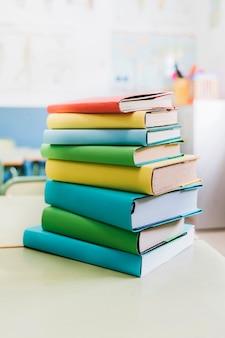 Kleurrijke schoolboeken op tafel gerangschikt