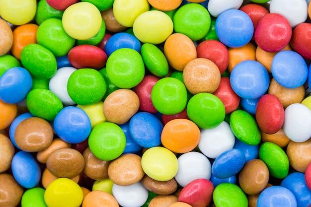 Kleurrijke snoep achtergrond. close-up bovenaanzicht.