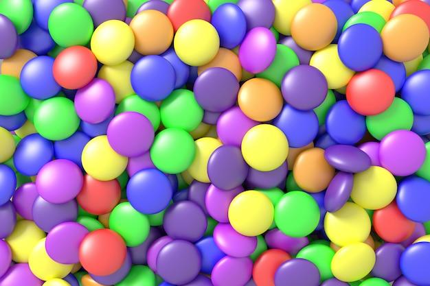 Kleurrijke snoepjes. 3d-rendering.