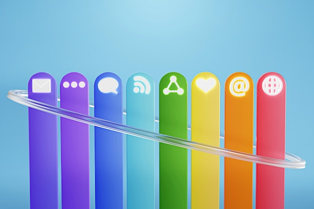 Kleurrijke sociale media pictogram op blauwe achtergrond