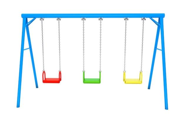 Kleurrijke speeltuin schommel op een witte achtergrond