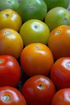 Kleurrijke tomaten schikt op tafel
