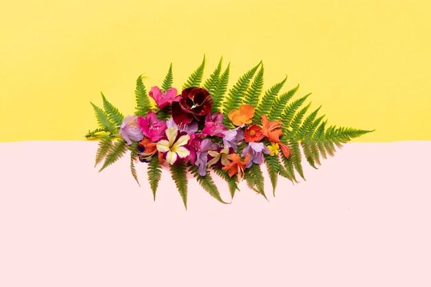 Kleurrijke tropische bloemen op een varenblad op gele en roze colorblock achtergrond leuke zomercompositie