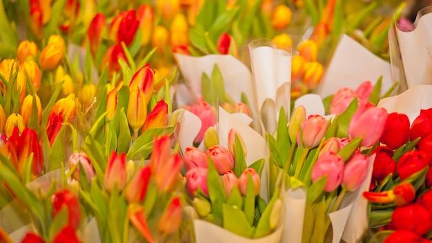 Kleurrijke tulpen te koop in de markt. bloemenmarkt of winkel. vrouwendag. moederdag.