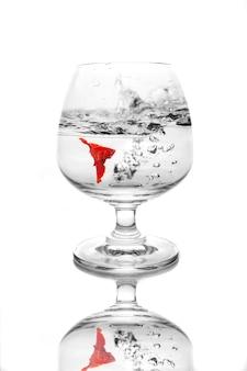 Kleurrijke vechtende vissen in een wijnglas.