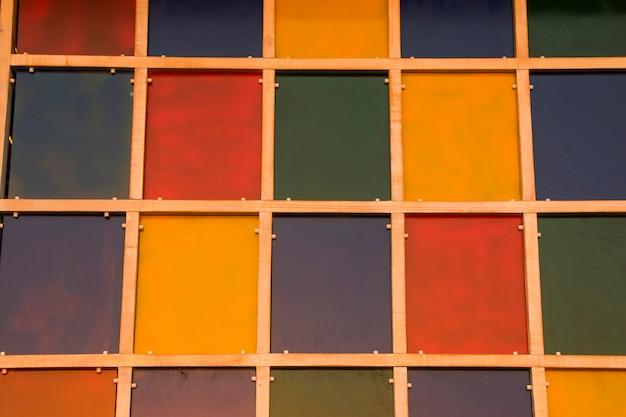 Kleurrijke vierkanten achtergrond, muur met vierkanten