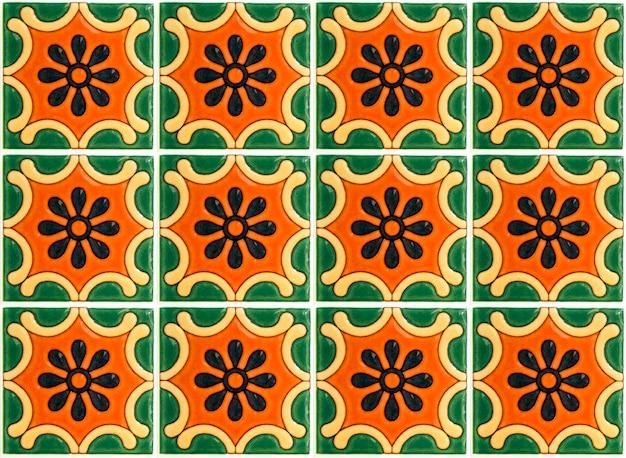 Kleurrijke vintage keramische tegels muur decoratie. turquoise tegels muur achtergrond