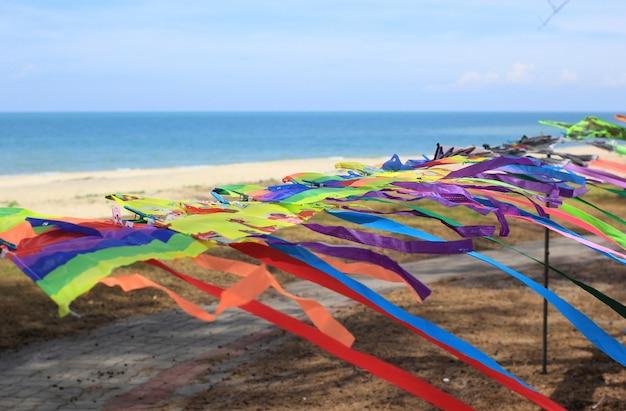 Kleurrijke vliegers op het strand.