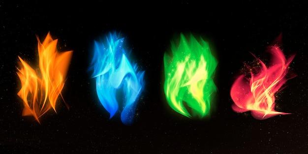 Kleurrijke vuurvlam grafische elementenset