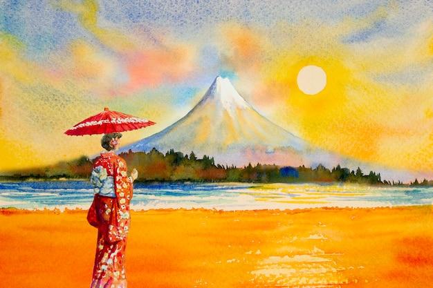 Kleurrijke waterverf het schilderen oriëntatiepunten in japan.