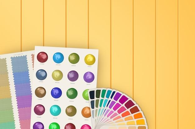 Kleurstaalsjabloon en grafiek op gele achtergrond