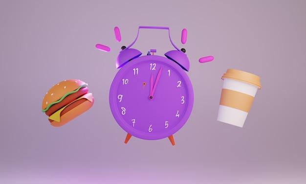 Klok hamburger kopje koffie 3d-rendering