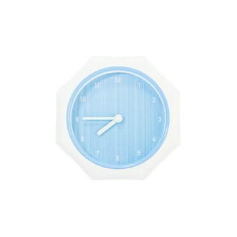 Klok van de close-up toont de blauwe muur voor kwart voor acht geïsoleerd op witte achtergrond met het knippen van weg